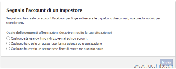 Segnala account impostore su Facebook