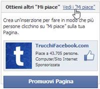 Vedi mi piace pagina facebook
