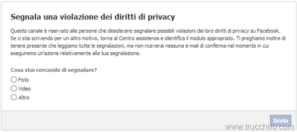 Violazione privacy Facebook