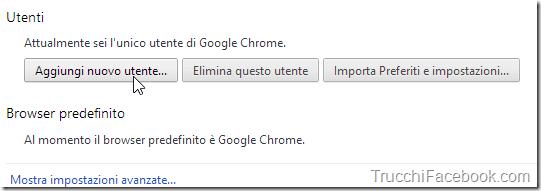 Aggiungi utente Chrome