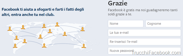 Homepage Facebook modificata