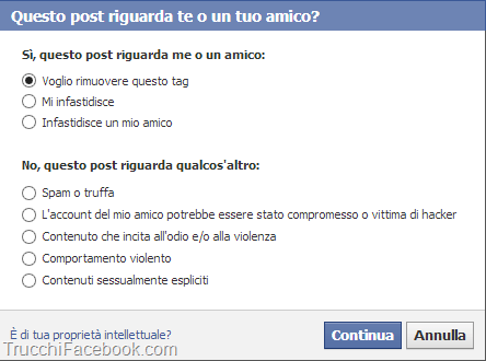 Rimuovi tag Facebook