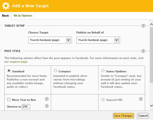 Impostazioni target