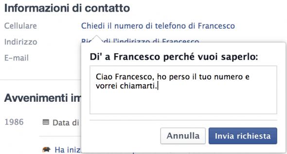 Chiedi numero di telefono Facebook
