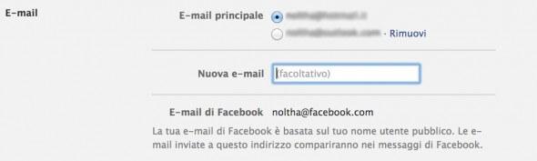 Come modificare email