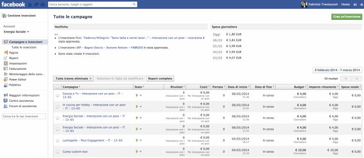 Gestione pubblicità su Facebook