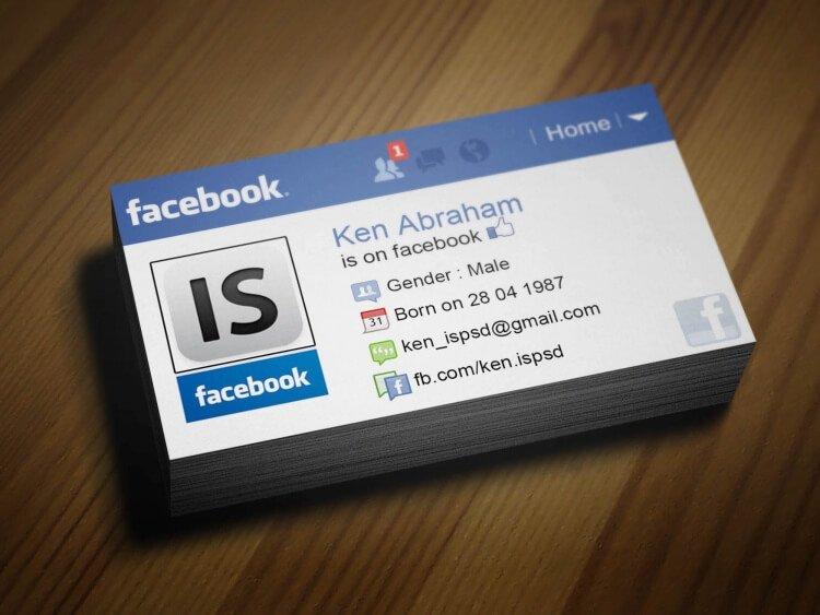 biglietto da visita facebook