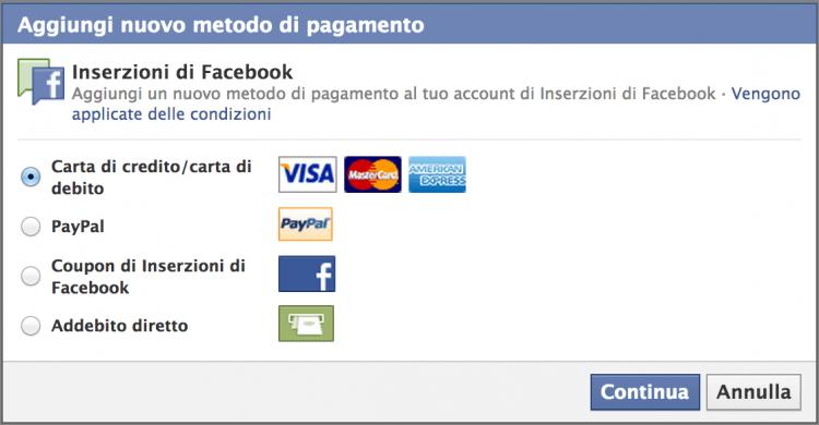 metodi pagamento - pubblicità su Facebook