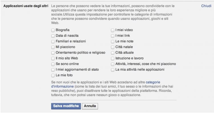 applicazioni degli altri facebook