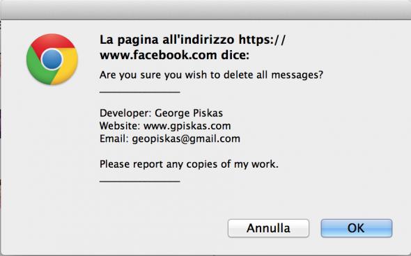elimina tutti messaggi facebook