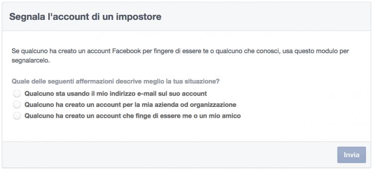 Segnala account impostore Facebook