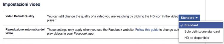 impostazioni video facebook