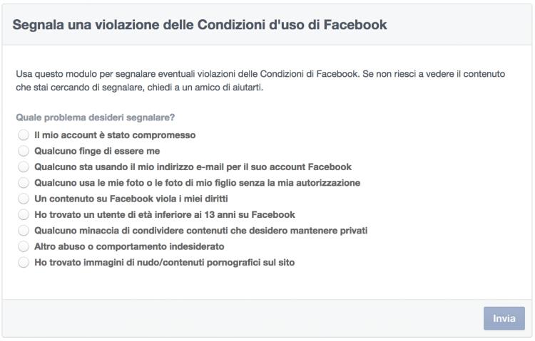 violazione condizioni uso facebook