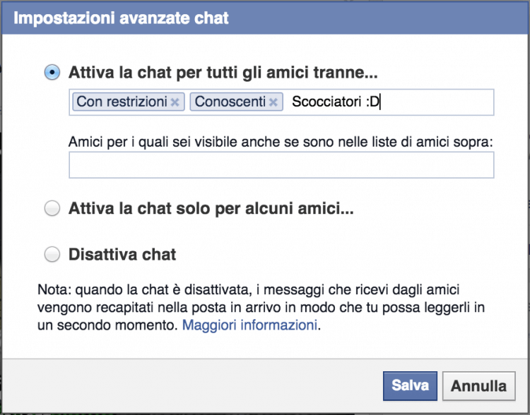 impostazioni avanzate chat
