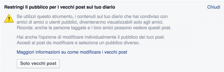 limitare vecchi post facebook