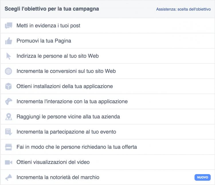 obiettivi campagne facebook ads