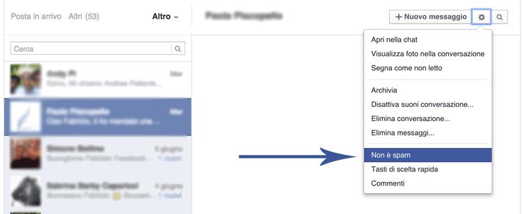 Segnalazione Non è spam su Facebook