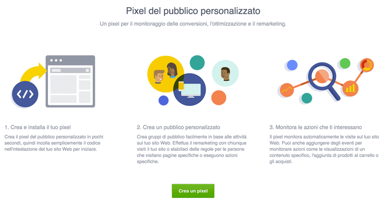nuovo pixel pubblico personalizzato facebook