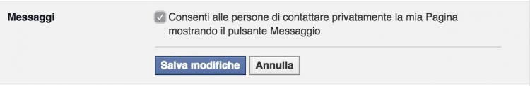 impostazioni messaggi pagine facebook
