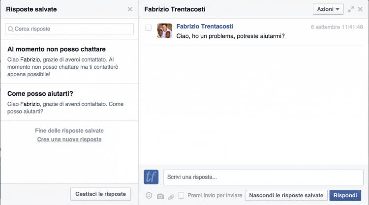risposte salvate messaggi pagine facebook
