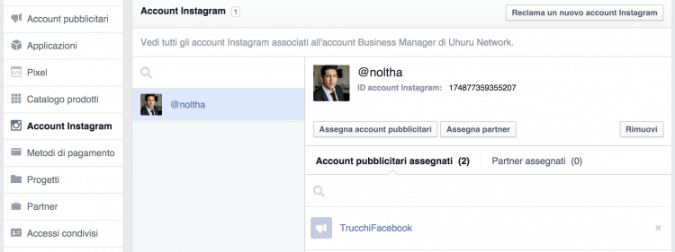 account instagram business manager