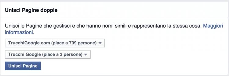 unisci pagine facebook