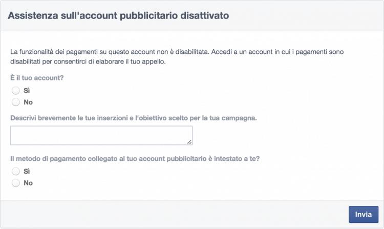 assistenza account pubblicitario disattivato