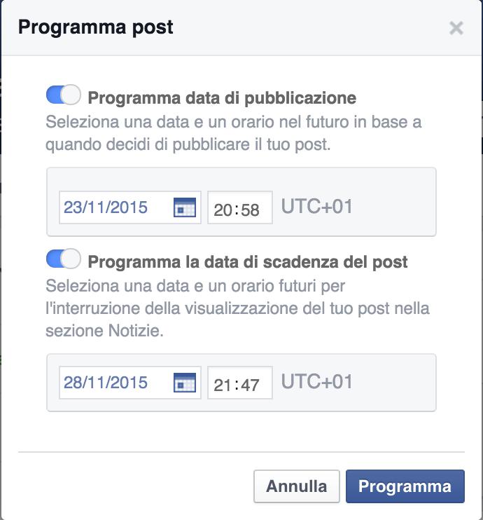 post in scadenza facebook