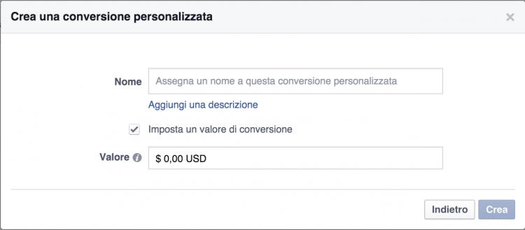 nome valore conversione facebook