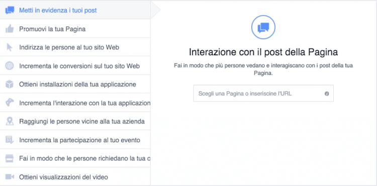 obiettivi pubblicitari facebook