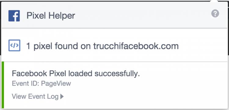 pixel facebook caricato correttamente