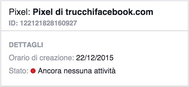 pixel facebook nessuna attivita