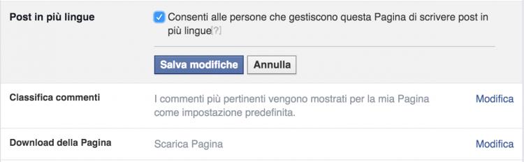 post in piu lingue pagina facebook