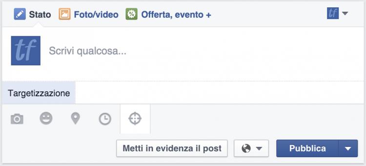 targetizzazione post pagina facebook
