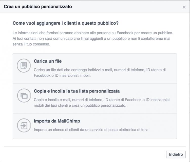 carica lista email facebook