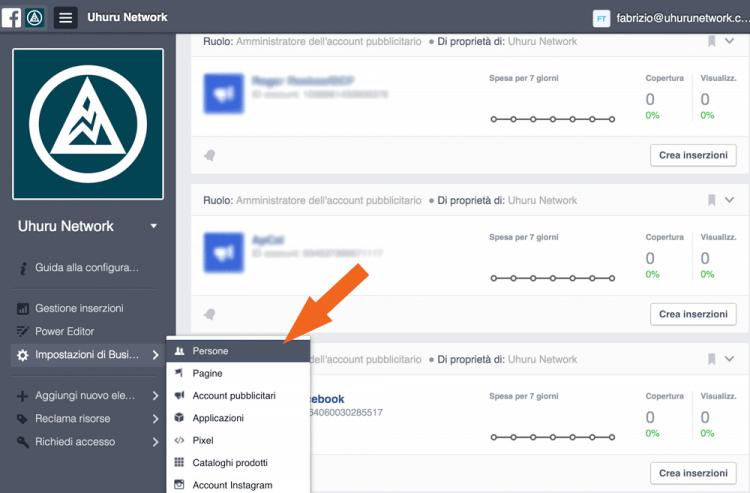 Impostazioni Facebook Business Manager
