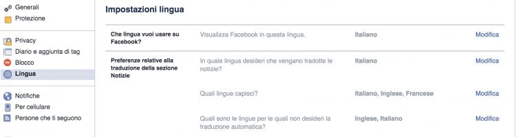 impostazioni lingua facebook
