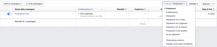 report facebook ads colonne