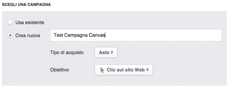 creazione campagna facebook canvas