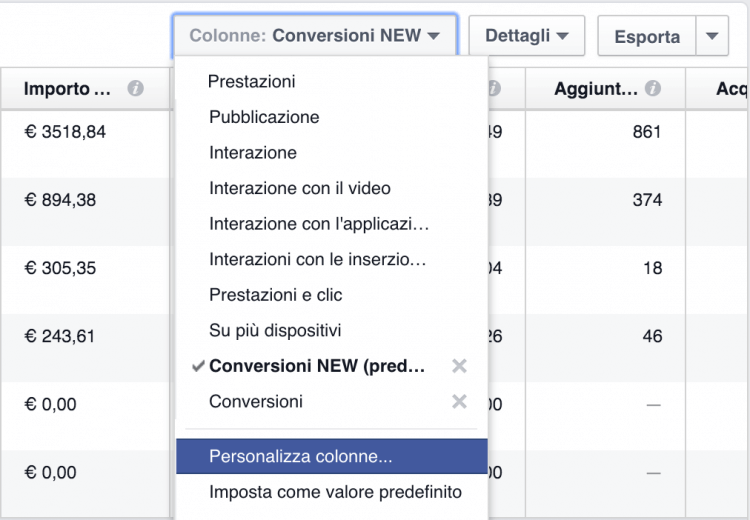 personalizza colonne report facebook ads