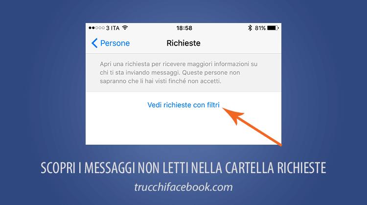 Scopri decine di messaggi mai ricevuti nella cartella Richieste di Messaggi di Facebook