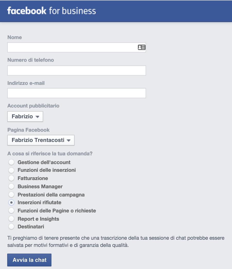servizio chat facebook ads