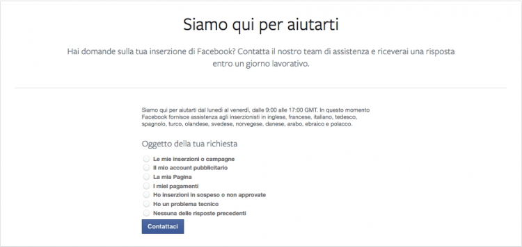 servizio email facebook ads