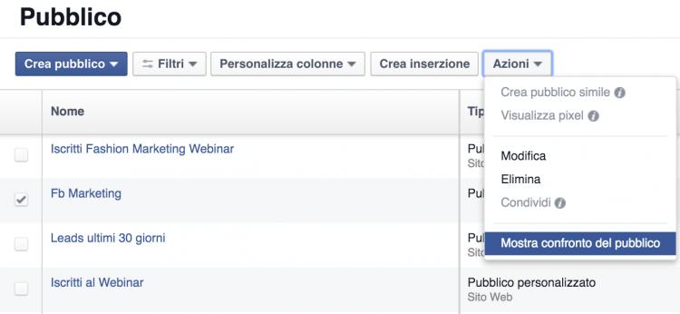 confronto del pubblico facebook