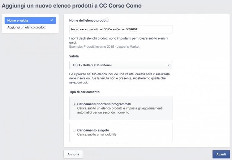 aggiungi elenco prodotti catalogo facebook