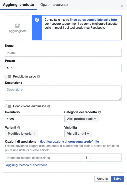 aggiungi prodotto vetrina facebook