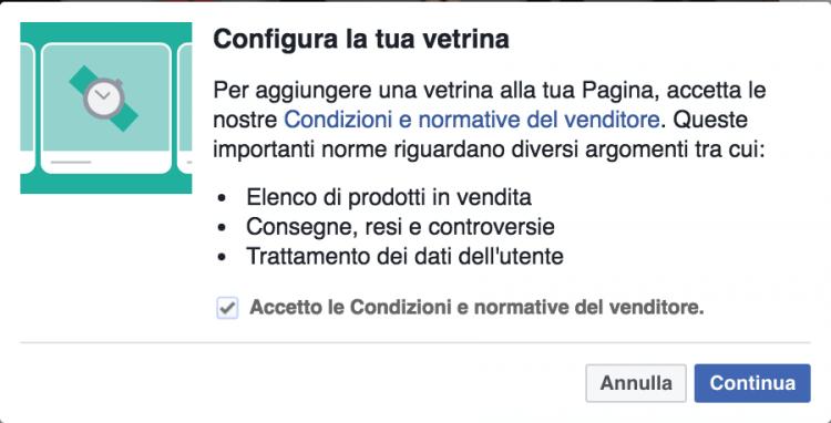 configura vetrina pagina facebook