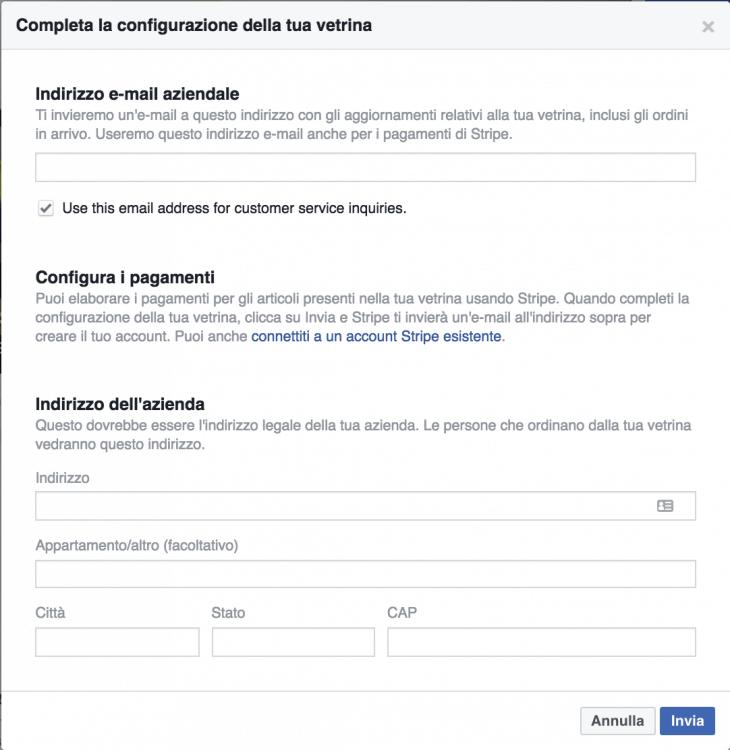 configurazione vetrina facebook