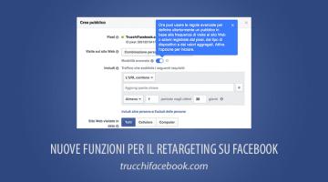 Aggiornamenti al Retargeting (o Remarketing) su Facebook