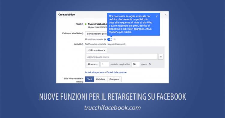 Nuove Funzioni Facebook Retargeting Remarketing
